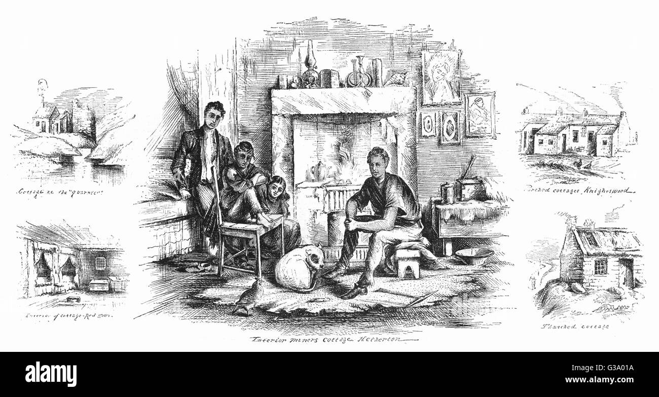 Scottish miners and their  homes.        Date: 1875 - Stock Image