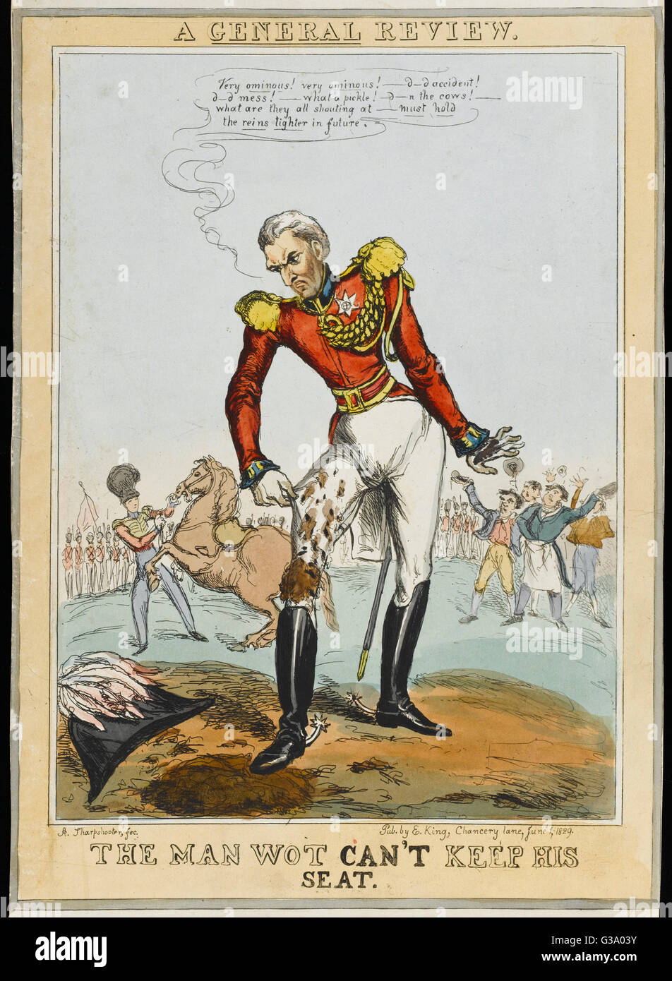 The Duke of Wellington  unhorsed - 'd---d accident ! d---d mess !  what a pickle ! d--n the cows !'     - Stock Image