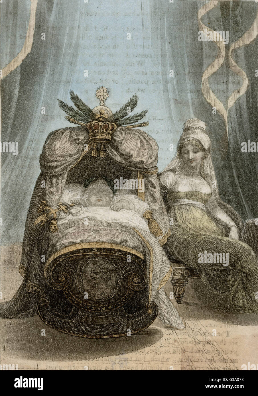 Napoleon's son is rocked in  his cradle by his mother,  Marie-Louise        Date: 1811 - 1832 Stock Photo