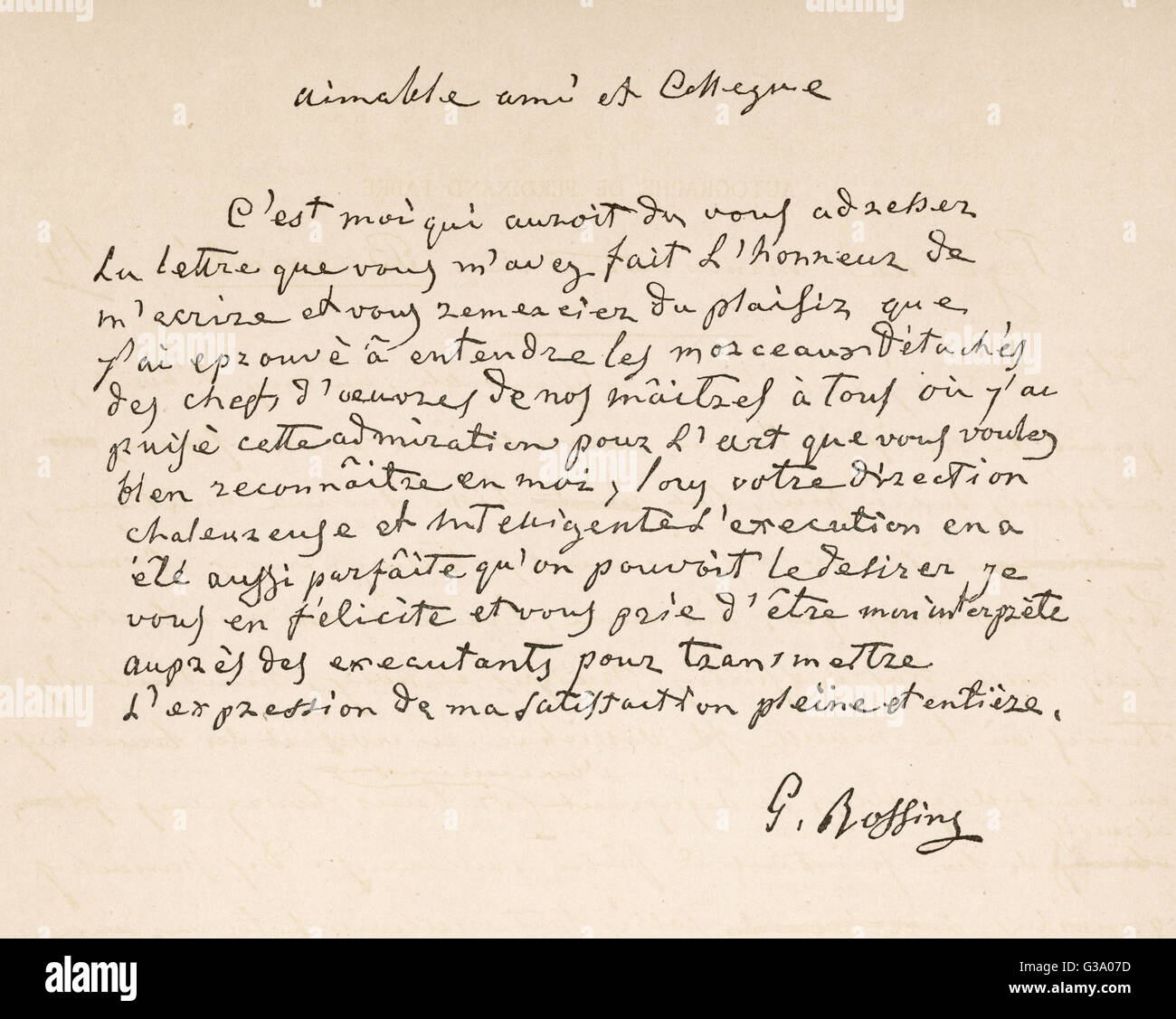 A letter of thanks from  the Italian composer to  a friend, written in French       Date: 19th century - Stock Image