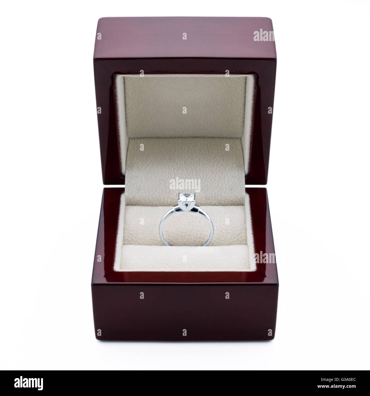 An engagement ring made of white gold with diamonds in a elegant box. - Stock Image