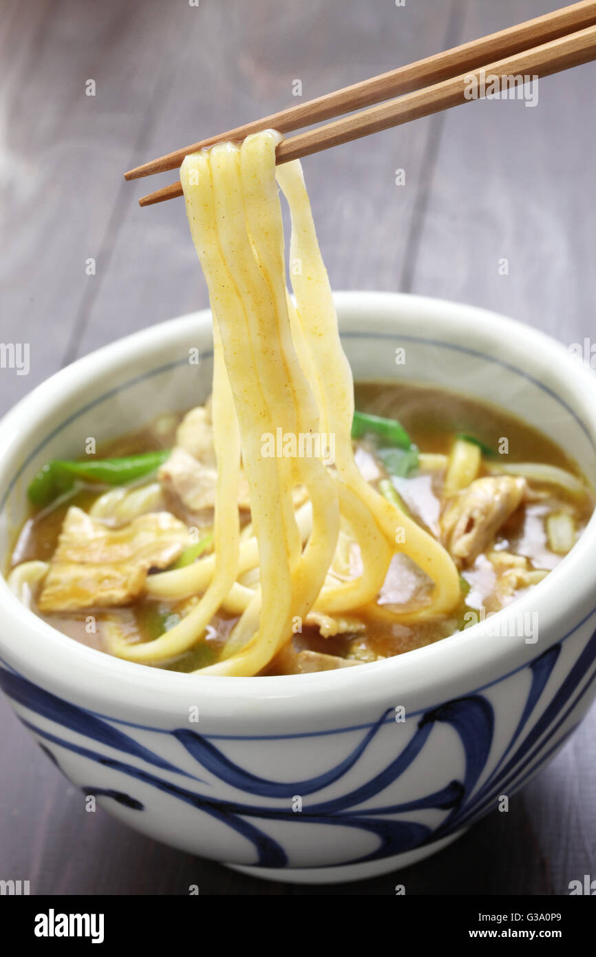 curry udon, japanese noodles soup dish - Stock Image
