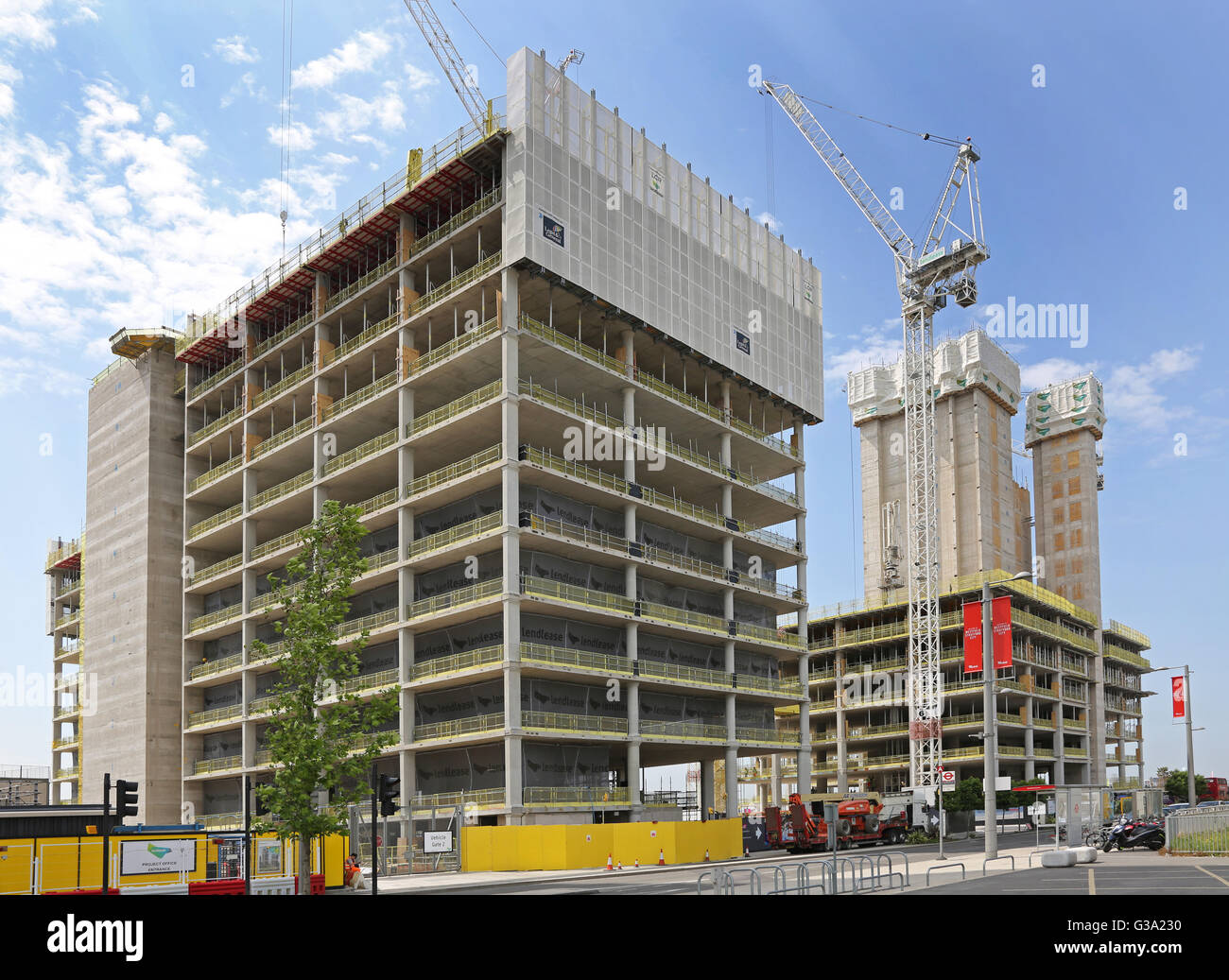 New office blocks being constructed next to the London Olympic Park. Part of The International Quarter development. - Stock Image