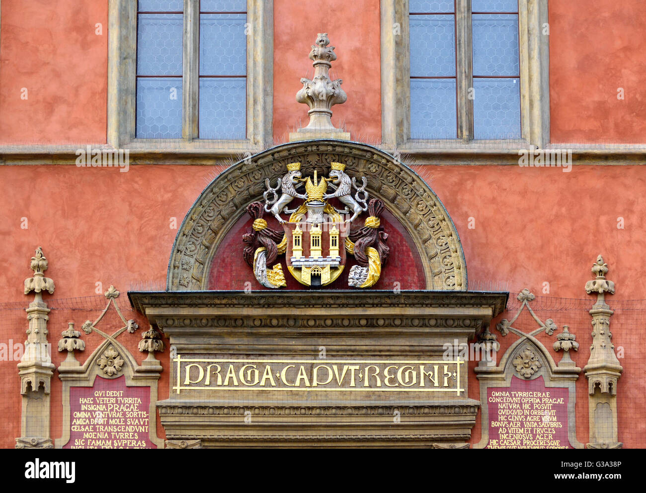 Prague, Czech Republic. Staromestske namesti / Old Town Square. Detail above doorway of the Old Town Hall - Staromestske - Stock Image