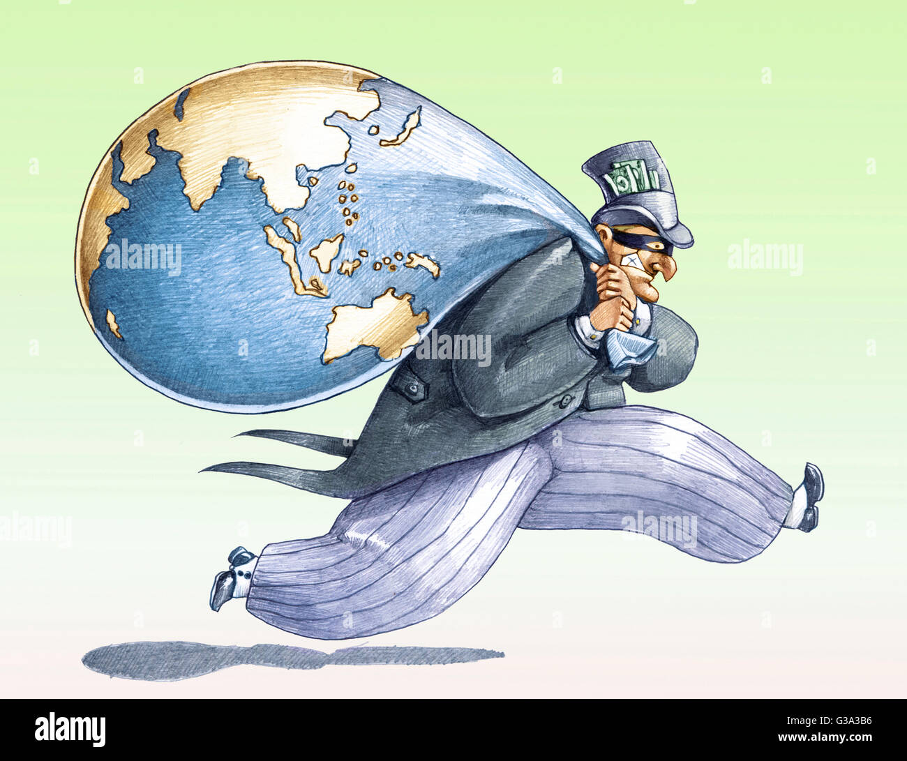 a rich masked steals the world - Stock Image