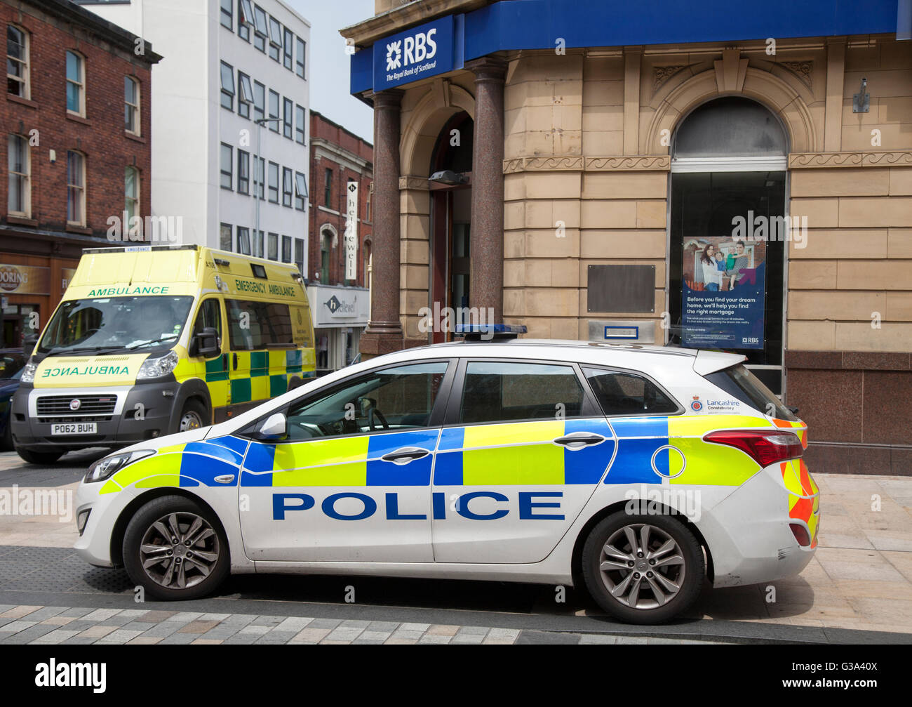 Trouble at the RBS Bank in Fishergate and Friargate in the Central Business District of the north western Lancashire - Stock Image