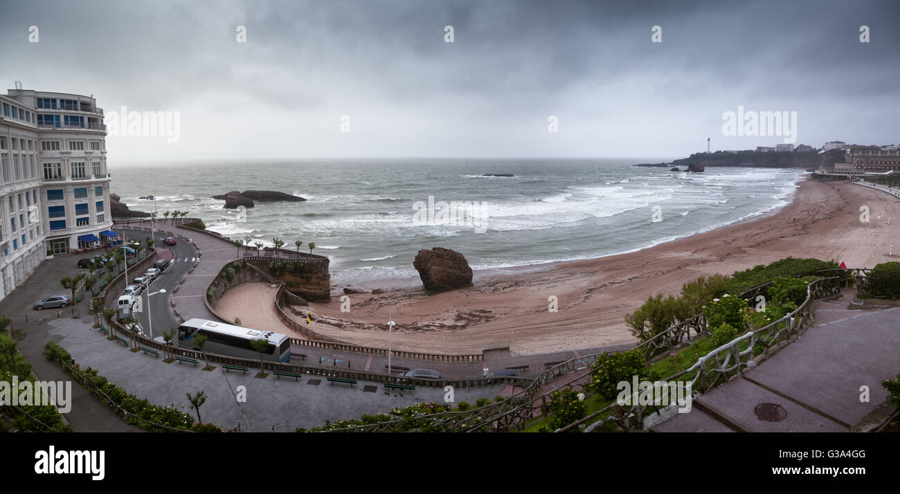 Biarritz beach in Pays Basque, France - Stock Image