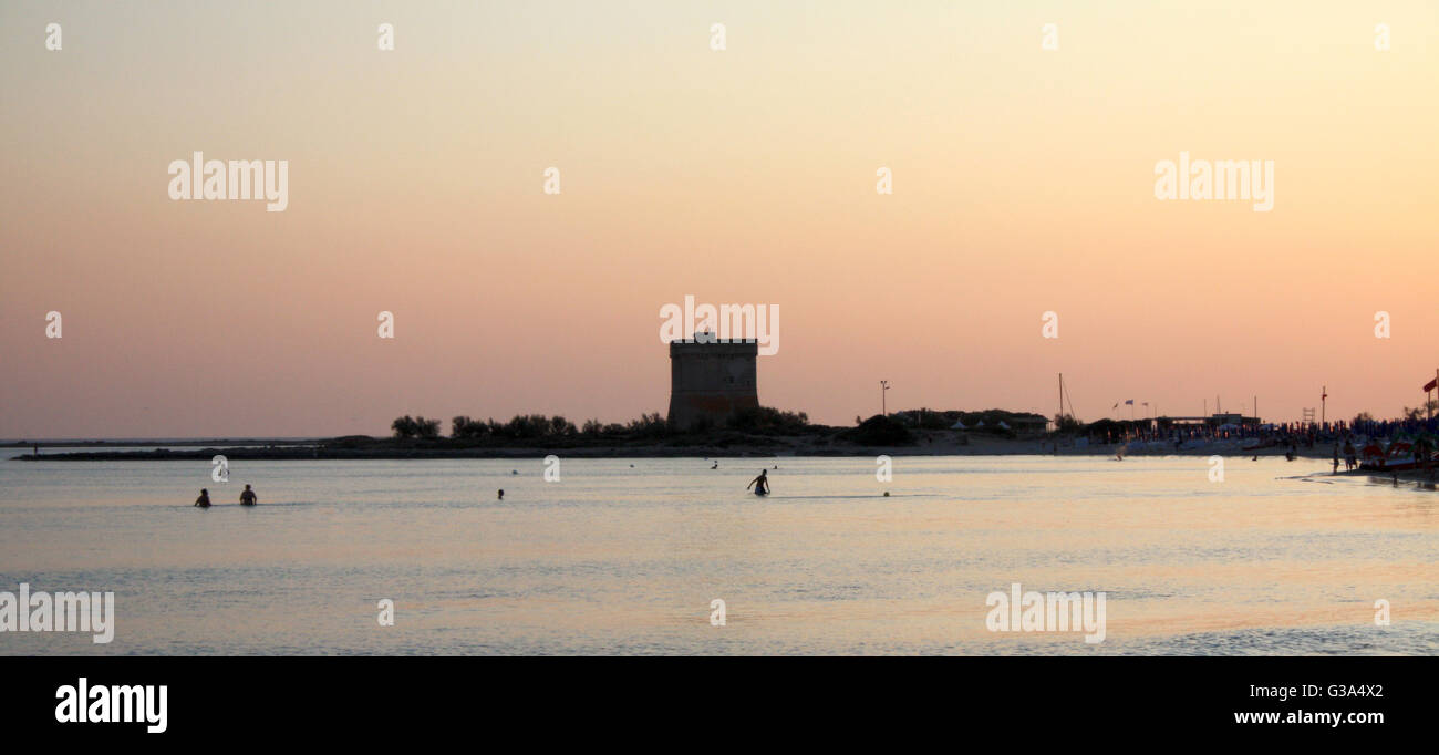 Bath in the sea at dusk puglia, italy Stock Photo