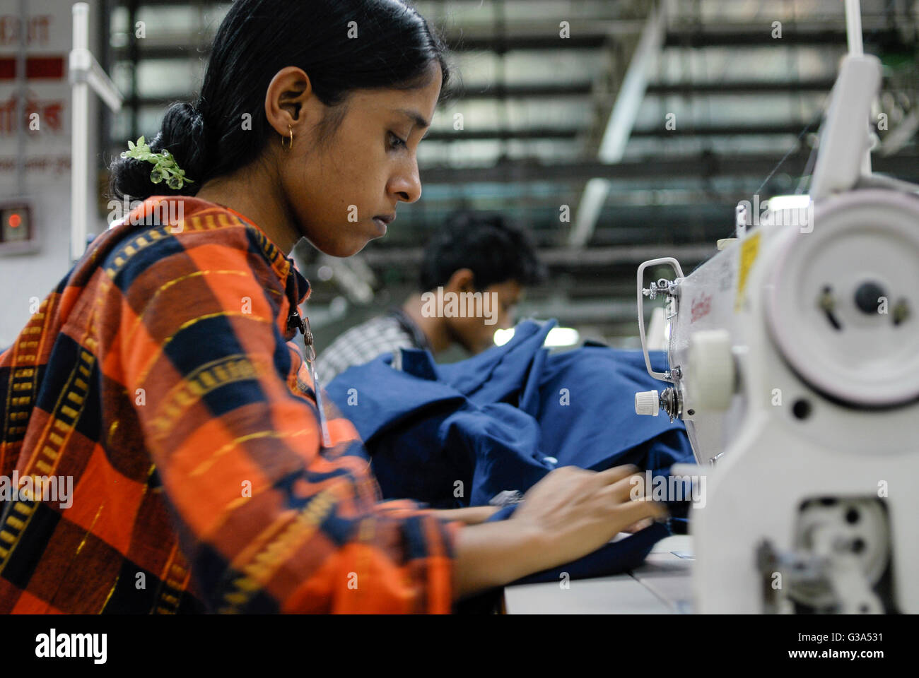 BANGLADESH , Dhaka, apparel industry , Beximco textile factory produce Jeans for export for western discounter, - Stock Image