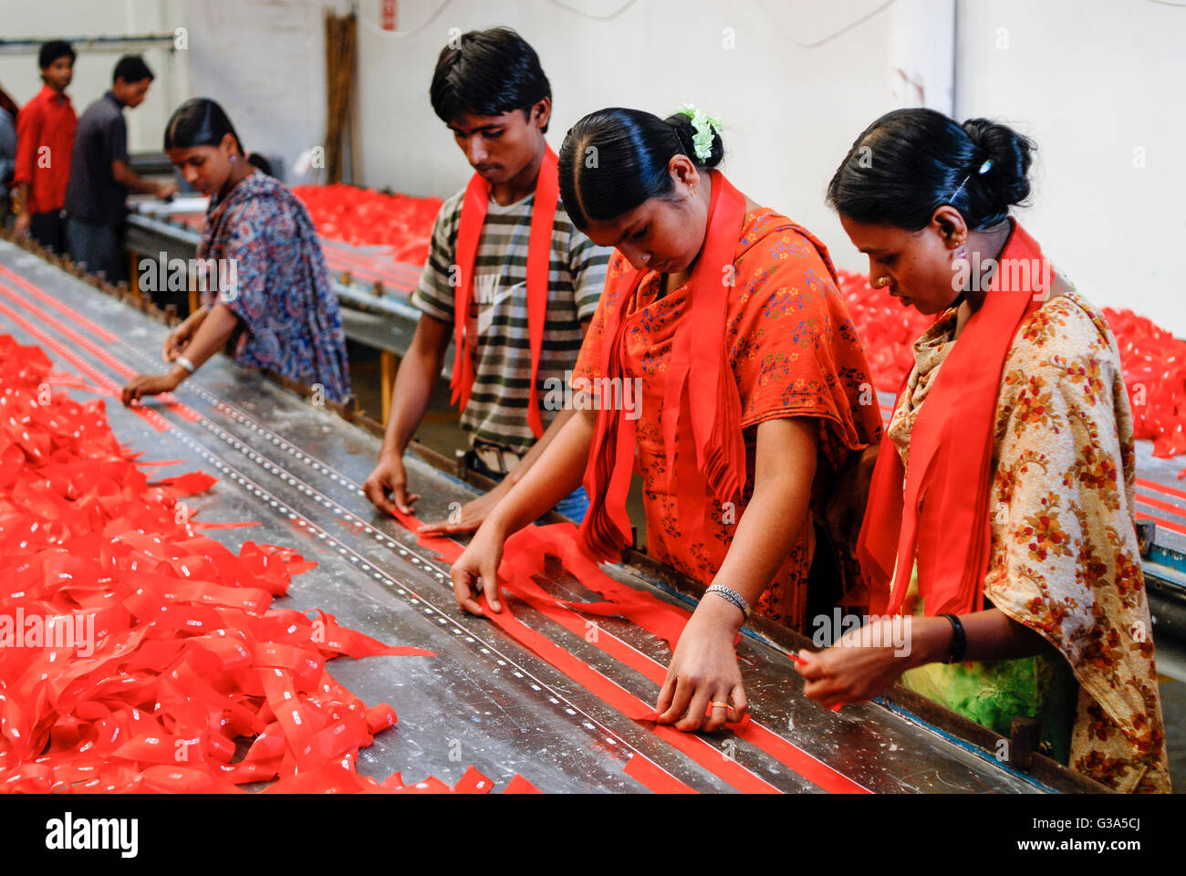 BANGLADESH , Dhaka, apparel industry , Beximco textile factory produce Jeans for export for western discounter- - Stock Image