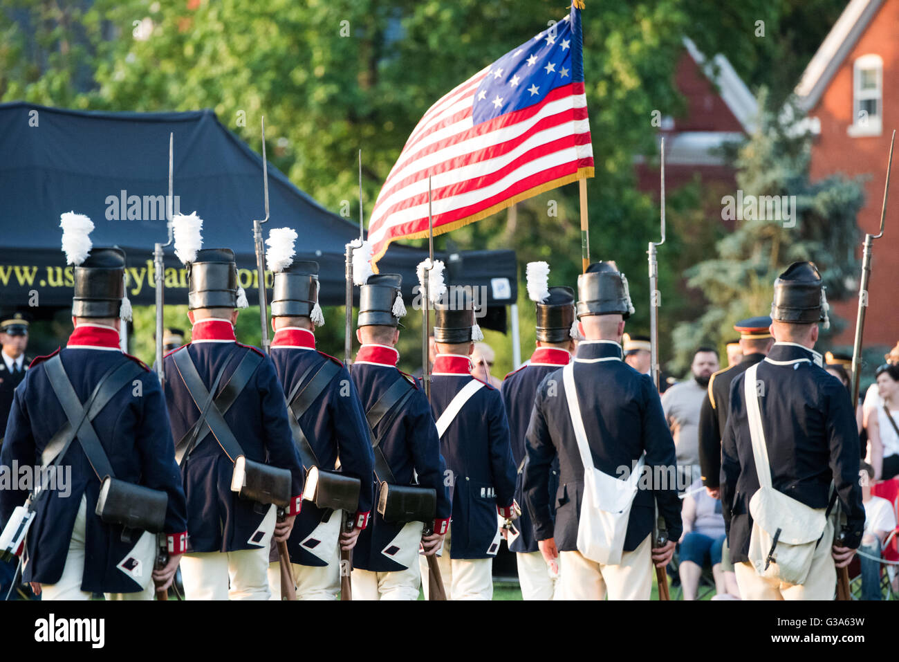 ARLINGTON, Virginia, USA - The U.S. Army's Twilight Tattoo is held on Tuesday evenings in the summer at Joint - Stock Image
