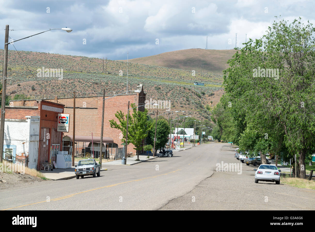 Main street in the small town of Huntington, Oregon. - Stock Image