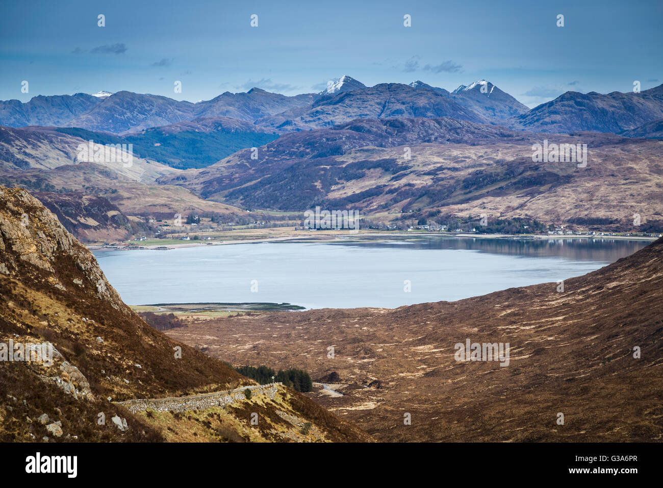 The summits of Kintail and Loch Duich from the Bealach of Ratagan. - Stock Image
