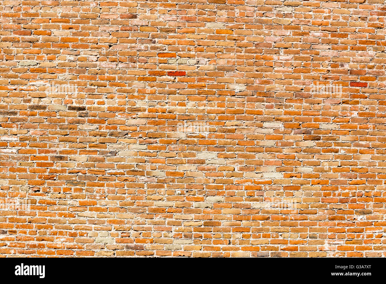 Brick wall of the historic Commercial Company Building in Huntington, Oregon. - Stock Image