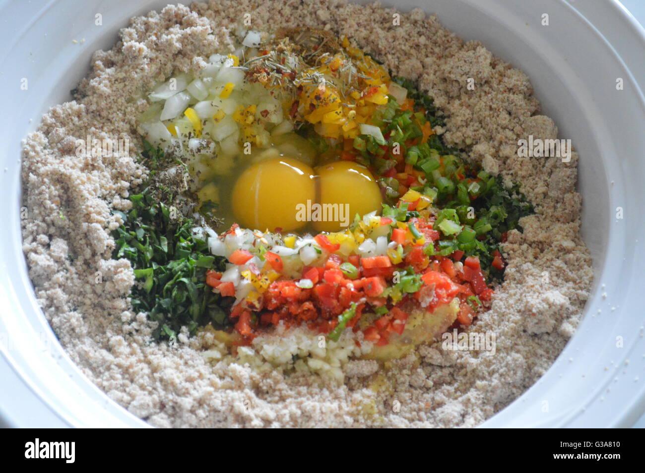 Fresh ingredients mixed with almond flour Stock Photo