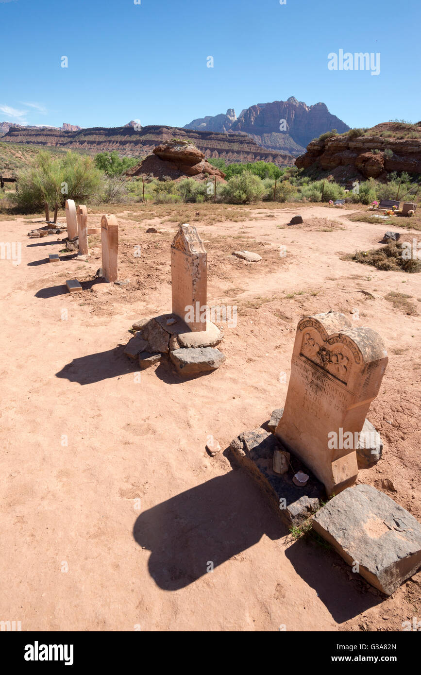 Headstones in the historic Grafton Cemetery, Grafton, Utah. Stock Photo