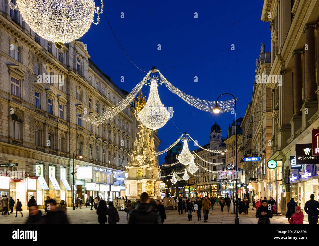 Downtown Pedestrian Graben With Lights For Christmas Austria Wien