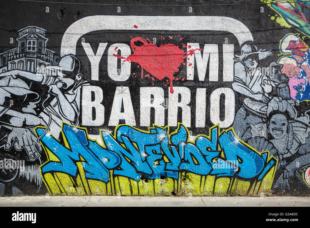 Street art and graffiti on the buildings of montevideo uruguay south america