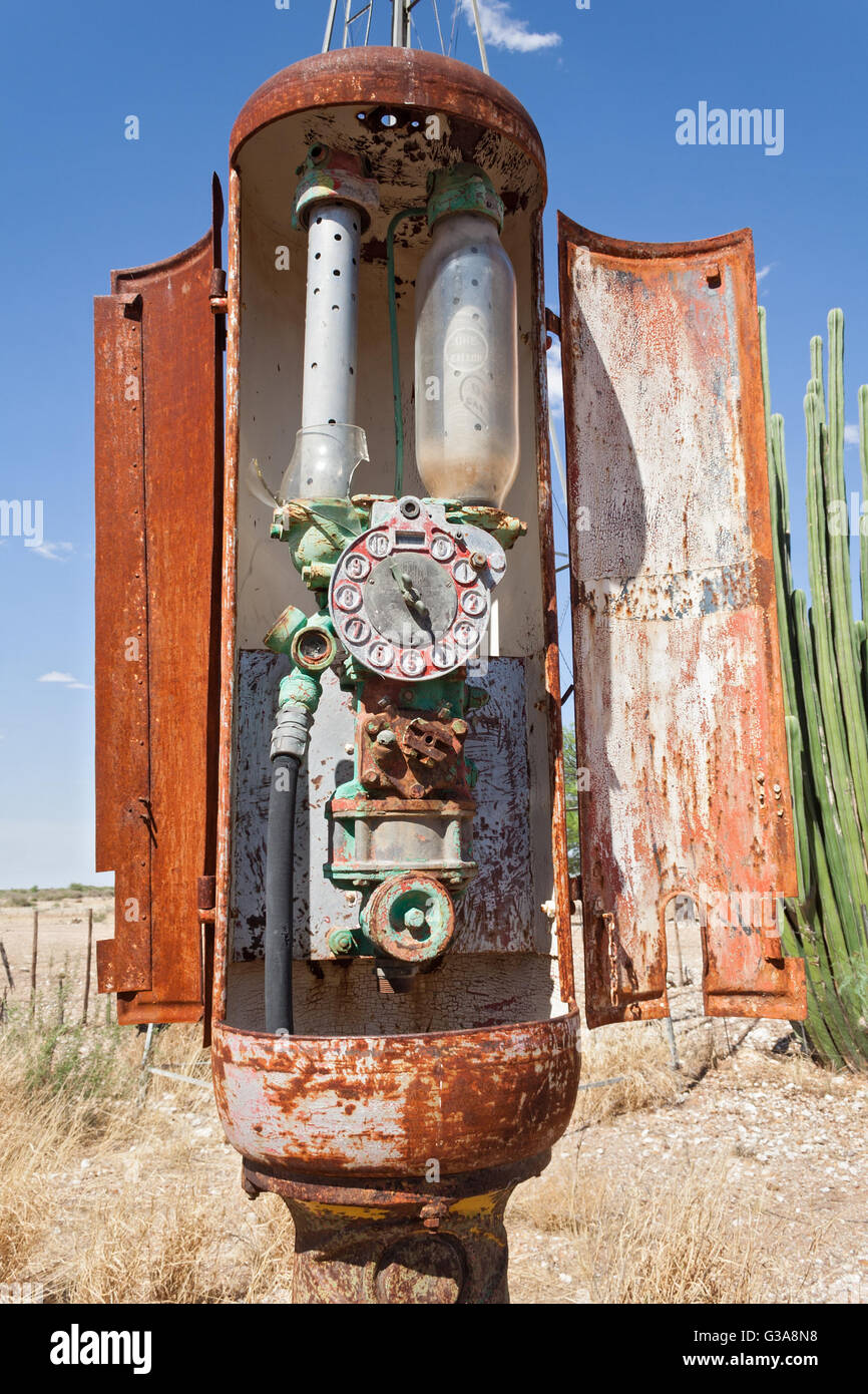 old rusty gas pump, gas station in Namibia - Stock Image