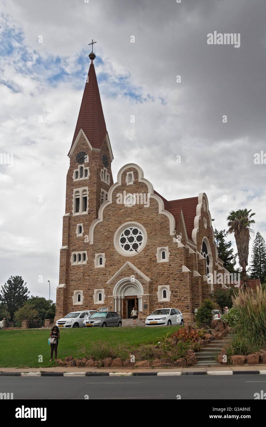 Lutheran christuskirche in the Namibian capital Windhoek - Stock Image