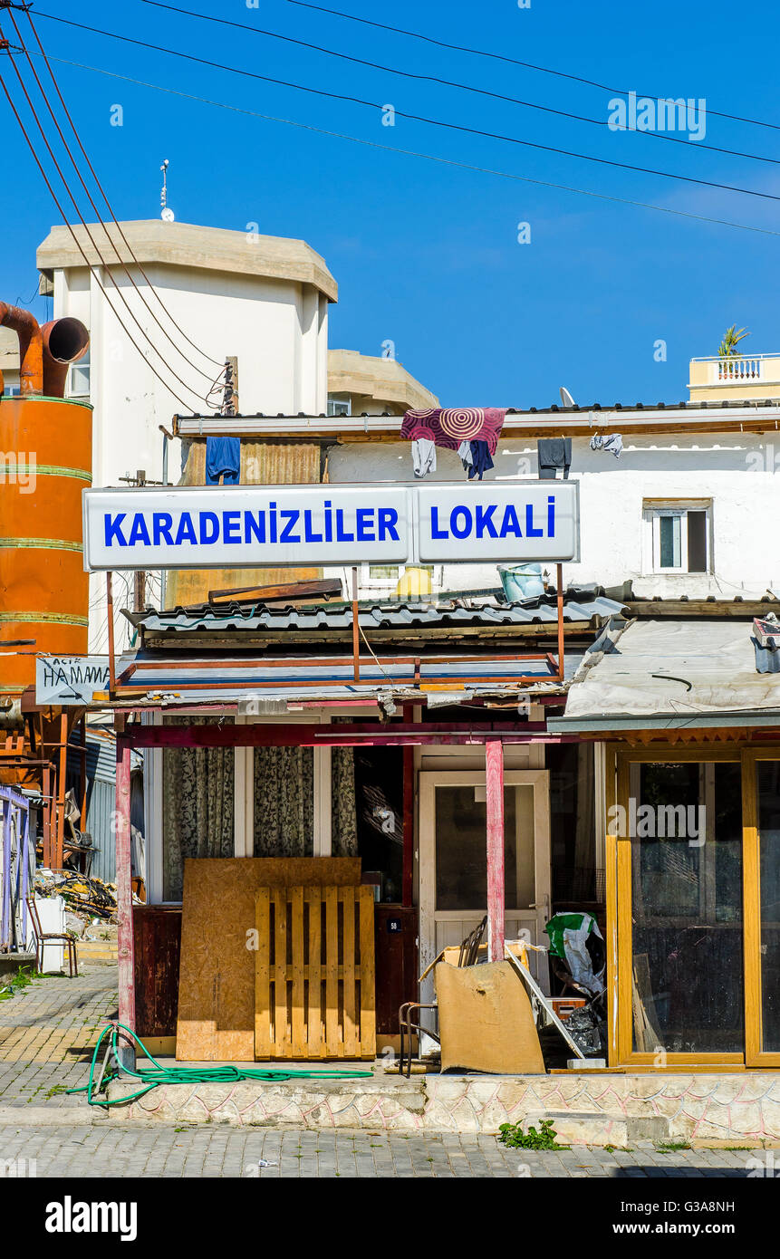 Local bar being refurbished in the city of Kyrenia, Northern Cyprus. - Stock Image