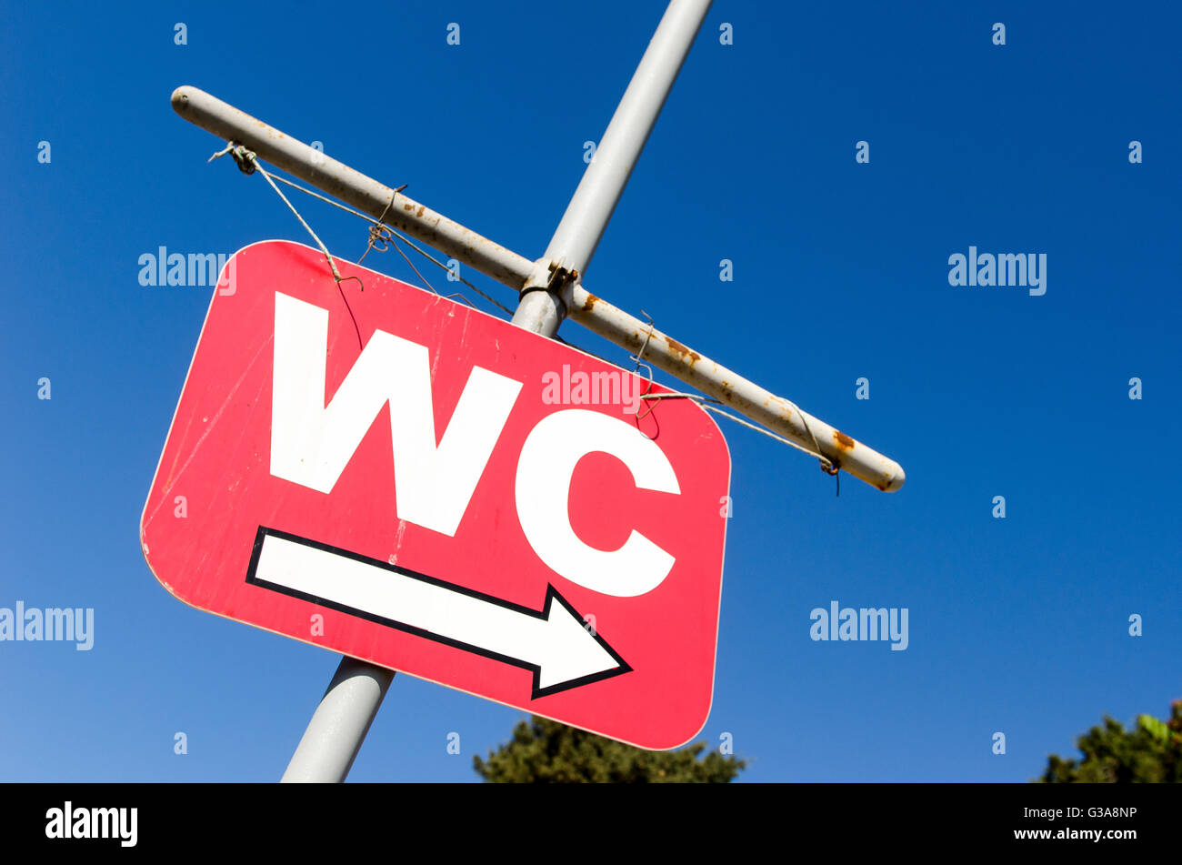 Sign for public toilets in the city of Kyrenia, Northern Cyprus. - Stock Image