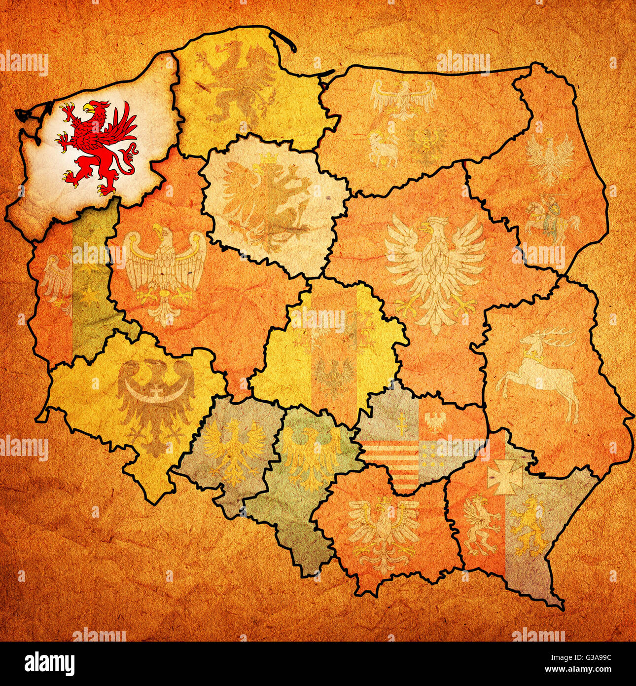 western pomerania region on administration map of poland with flag ...