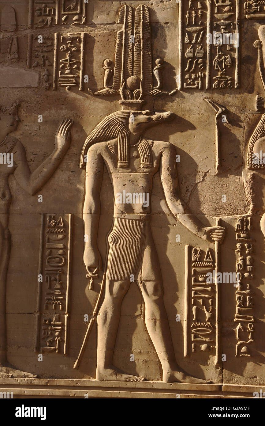 Sobek, ancient egyptian deity with crocodile head, relief in Temple of Kom Ombo, Egypt Stock Photo