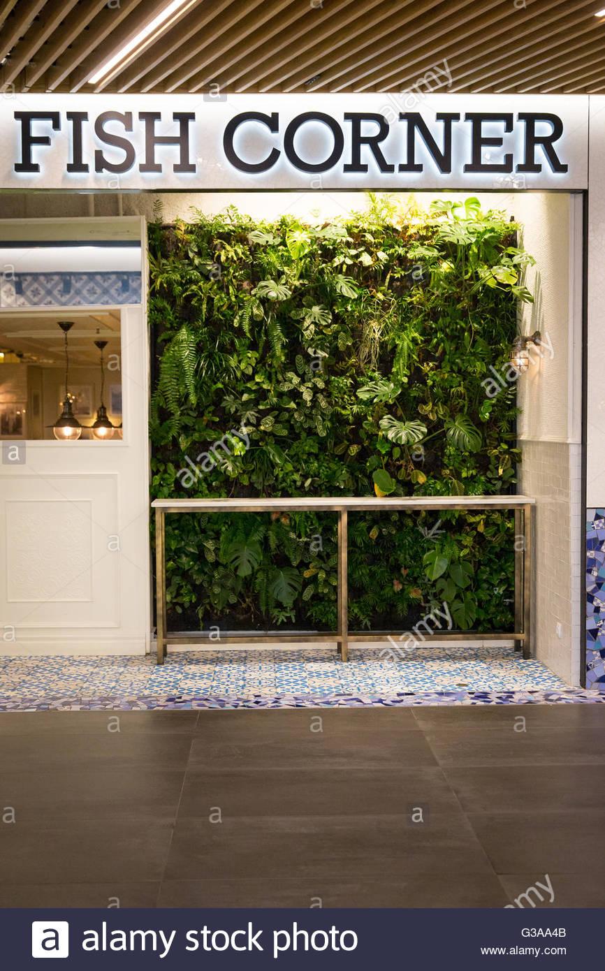 Spain, Catalonia, Barcelona, Mercat des Glories, Entrance of the Fish Corner restaurant - Stock Image