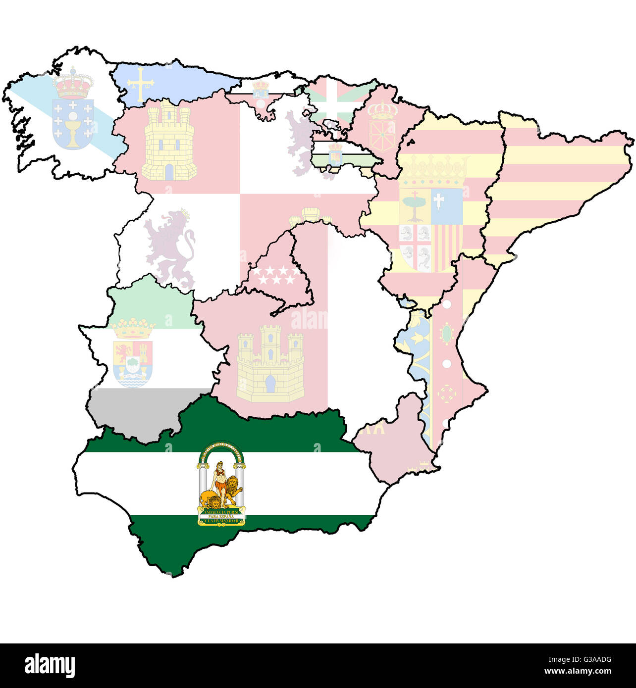 Spain Map Regions Cut Out Stock Images & Pictures - Alamy