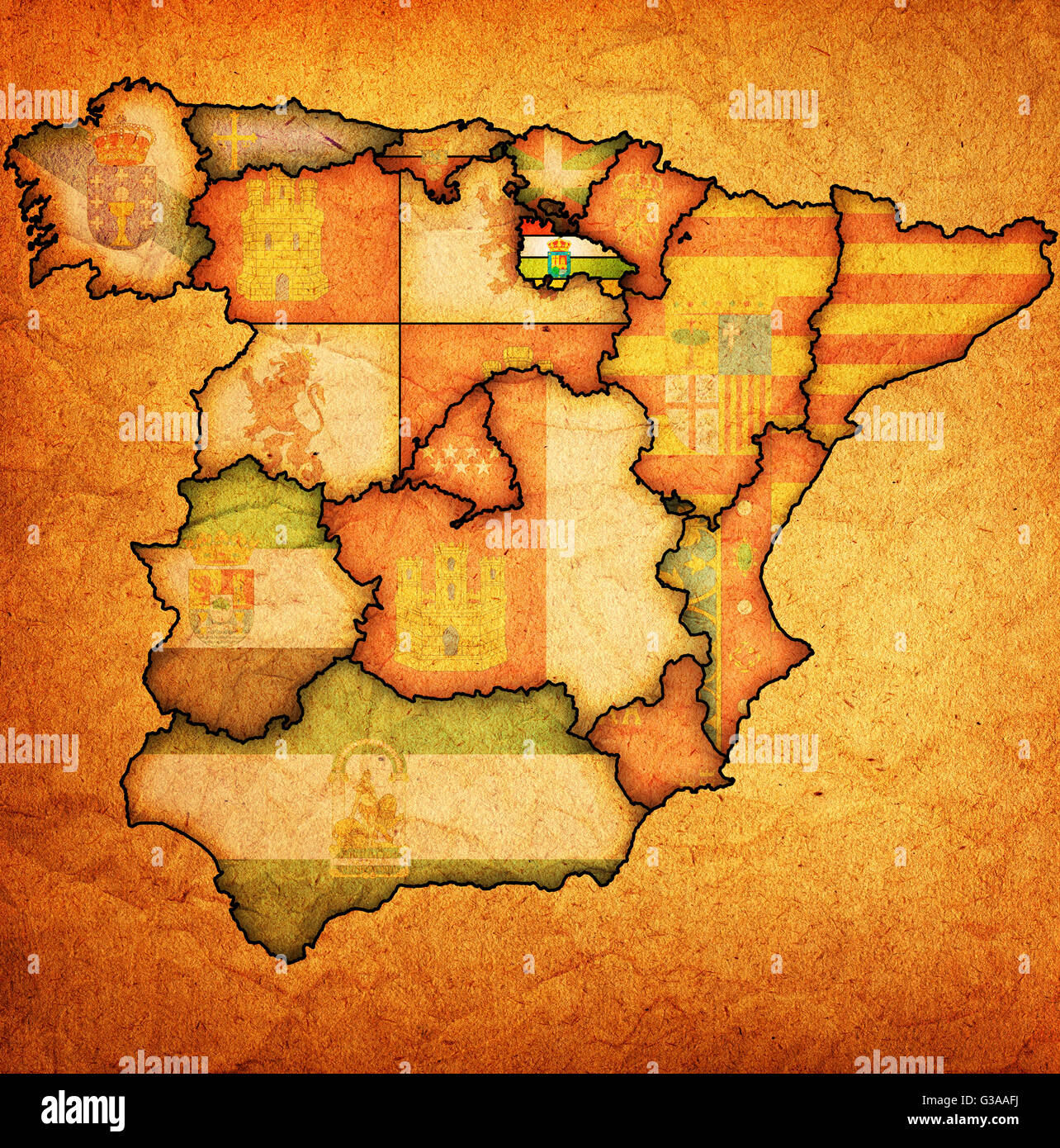 Rioja Region Spain Map.La Rioja Region On Administration Map Of Regions Of Spain With Flags