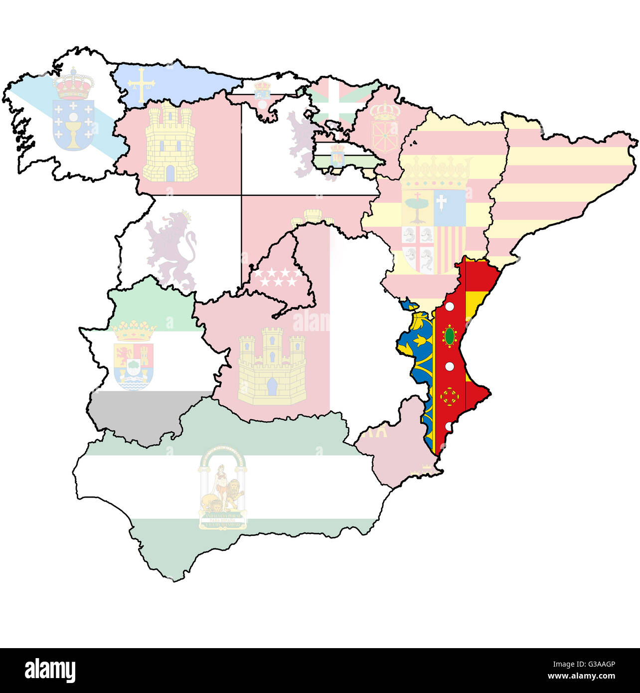 Map Of Spain Valencia.Valencia Region On Administration Map Of Regions Of Spain With Flags