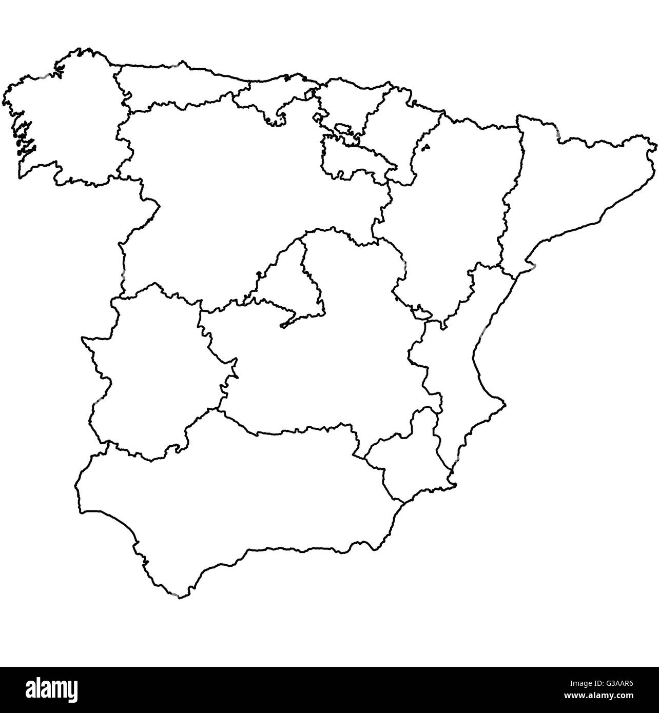 regions of spain on administration map with borders Stock ...