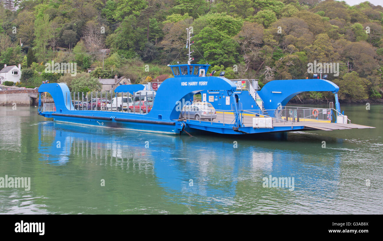 The King Harry ferry, a vehicular chain ferry which crosses the Carrick Roads reach of the river Fal estuary in - Stock Image