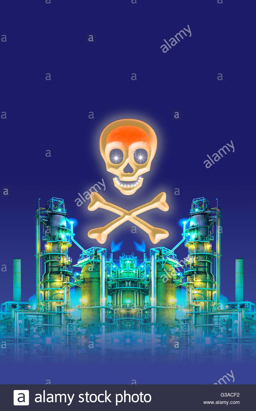 air pollution from refinery poisoned environment poison symbol skull crossbones pollute toxic contamination environment - Stock Image