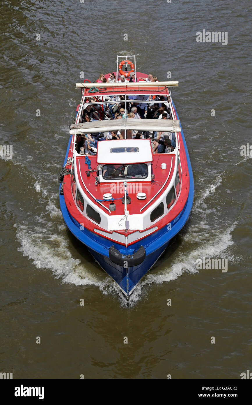 excursion boat, Harbour City, Hamburg, Germany - Stock Image