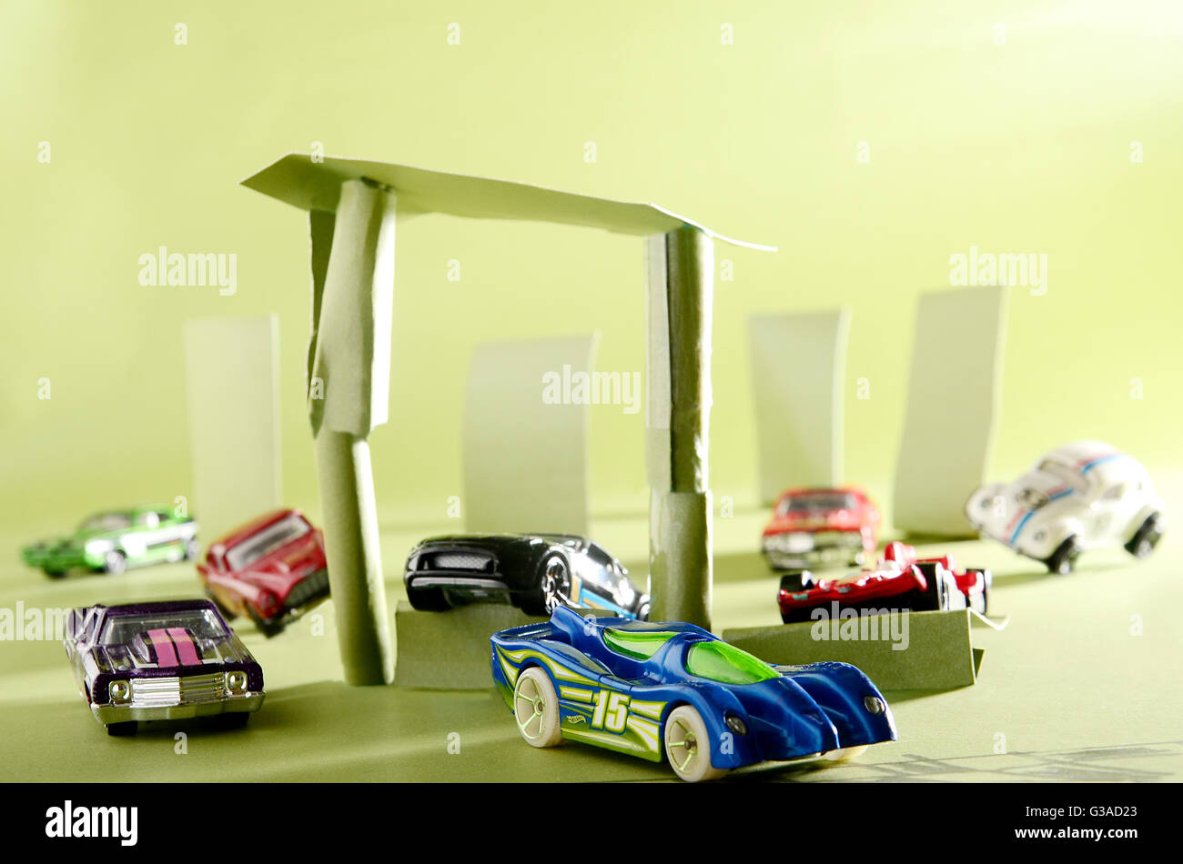 Hot wheels, die cast, group of cars, racing, until finish line - Stock Image