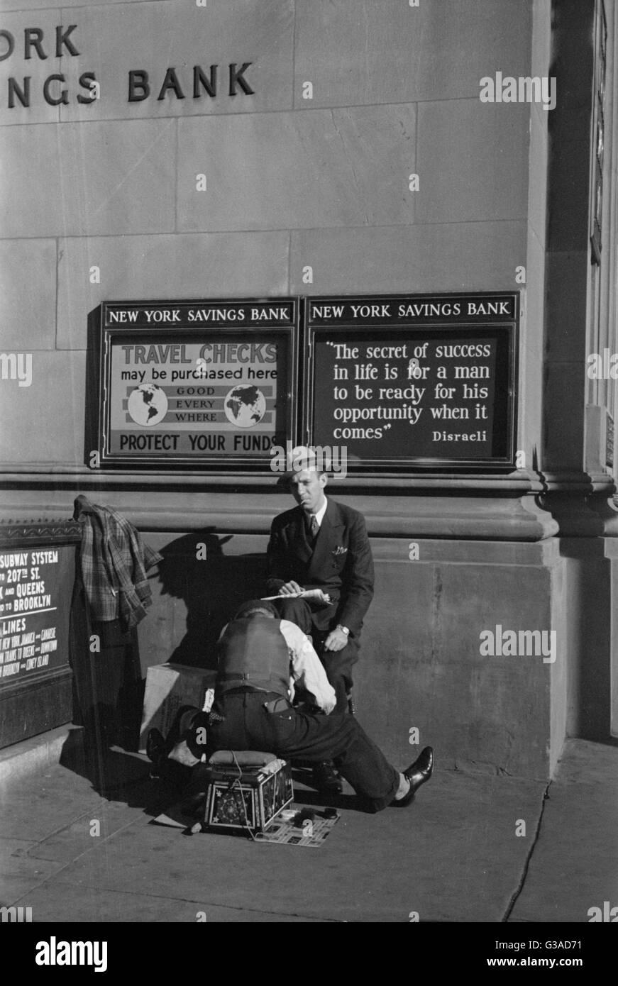 Bootblack, Fourteenth Street and Eighth Avenue, New York, New York. Date 1937 Dec. - Stock Image