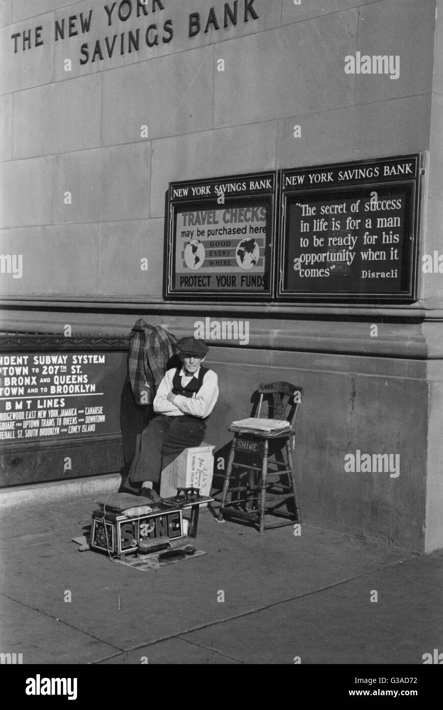 Bootblack, corner Fourteenth Street and Eighth Avenue, New York, New York. Date 1937 Dec. - Stock Image