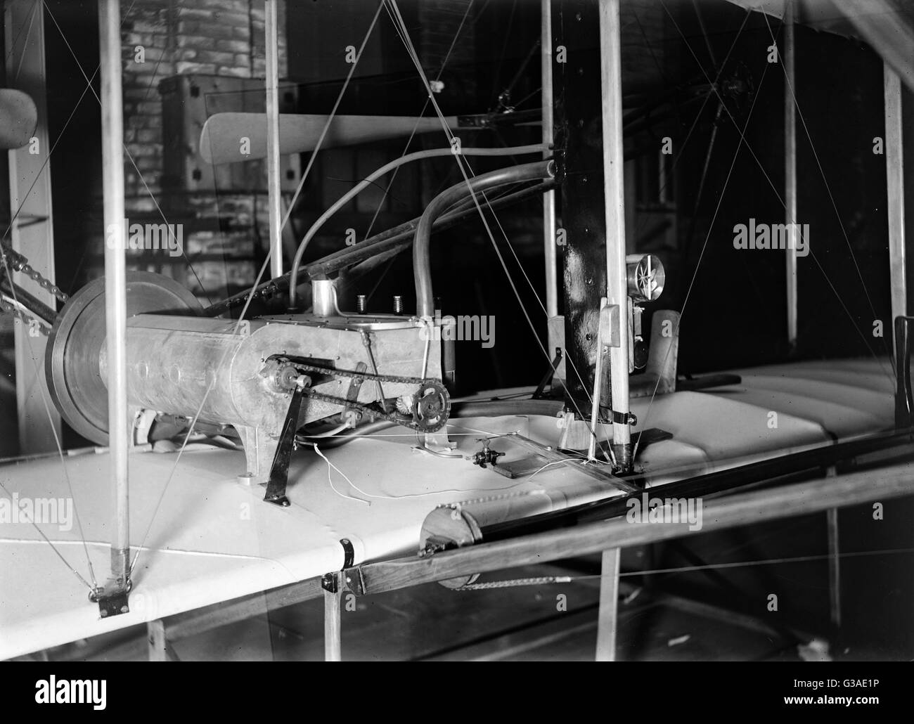 Powered 1903 machine in the shop. Date 1903. - Stock Image