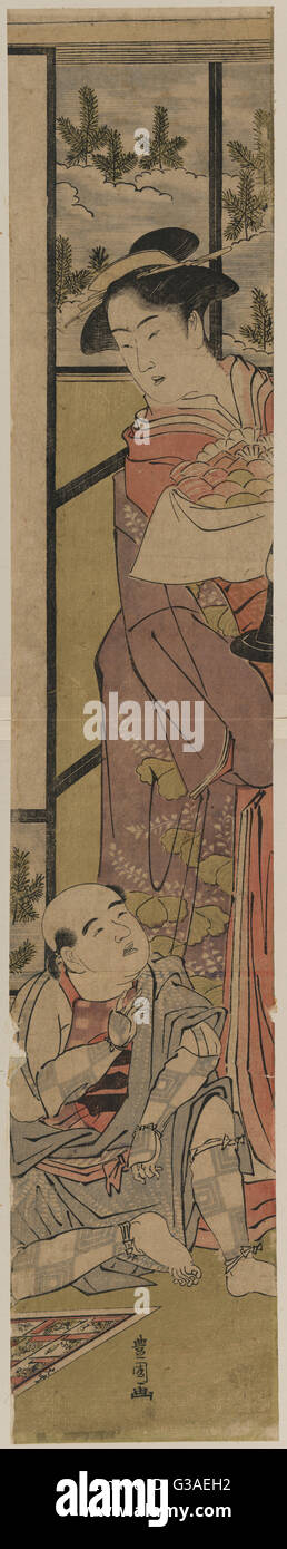 The separation of Shigenoi. Print showing a woman holding a tray of rice cakes?, standing over a man sitting on - Stock Image