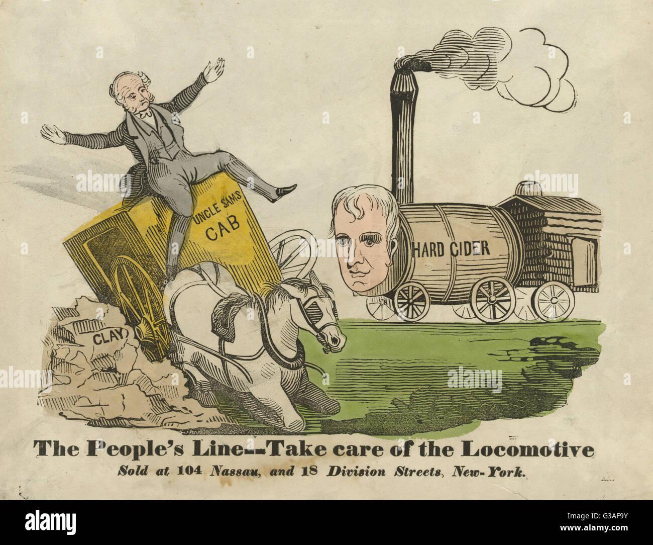 The people's line--Take care of the locomotive. Incumbent President Martin Van Buren drives Uncle Sam's - Stock Image