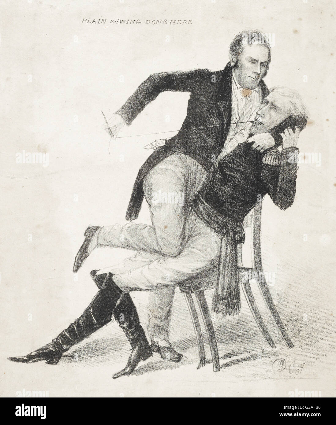 Symptoms of a locked jaw. Plain sewing done here. The caricature reflects the bitter antagonism between Kentucky - Stock Image