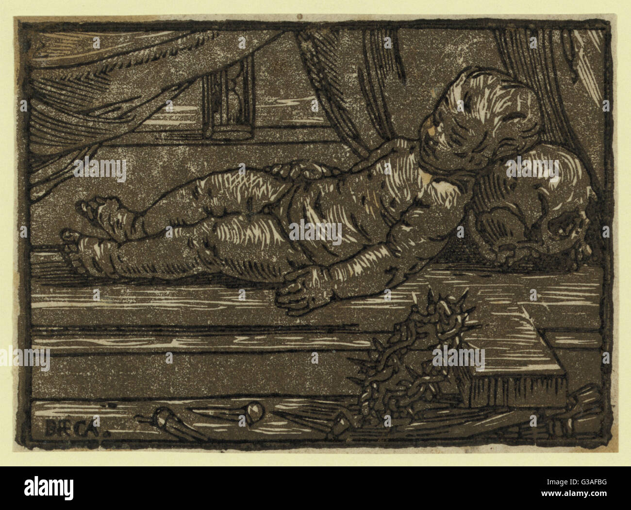 The infant Christ prefiguring the passion. Print shows the infant Jesus resting on a cross with a crown of thorns - Stock Image
