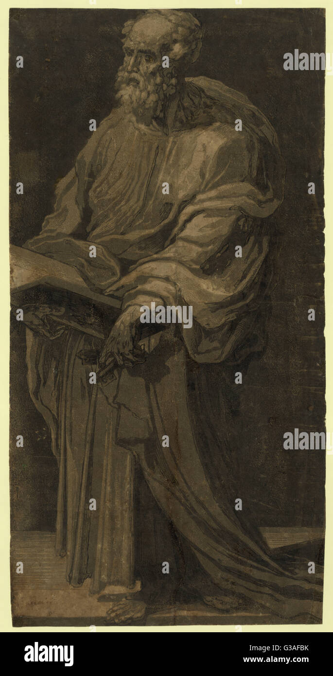 St. Peter. Print shows Saint Peter, standing, with a book in his hands. Date between 1500 and 1552. - Stock Image