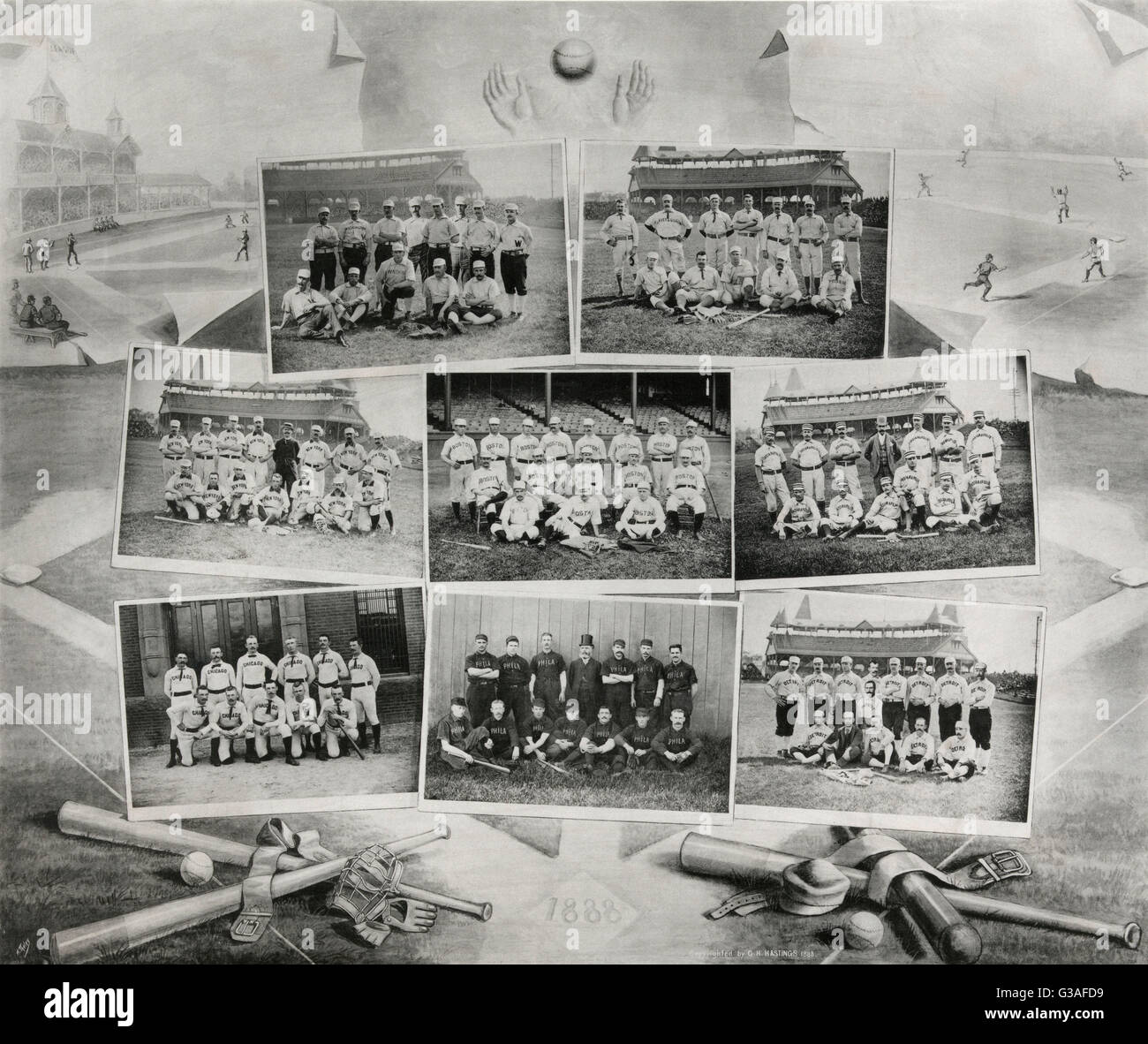 Galaxy of the National League. Print shows photomontage of eight National League baseball teams: Washington Nationals, - Stock Image