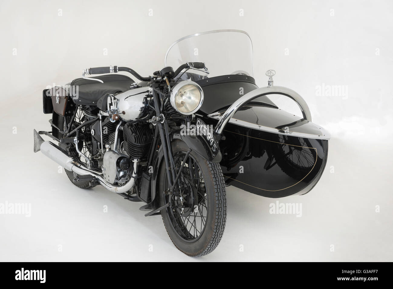 1936 Brough Superior 11-50 Special Combination - Stock Image