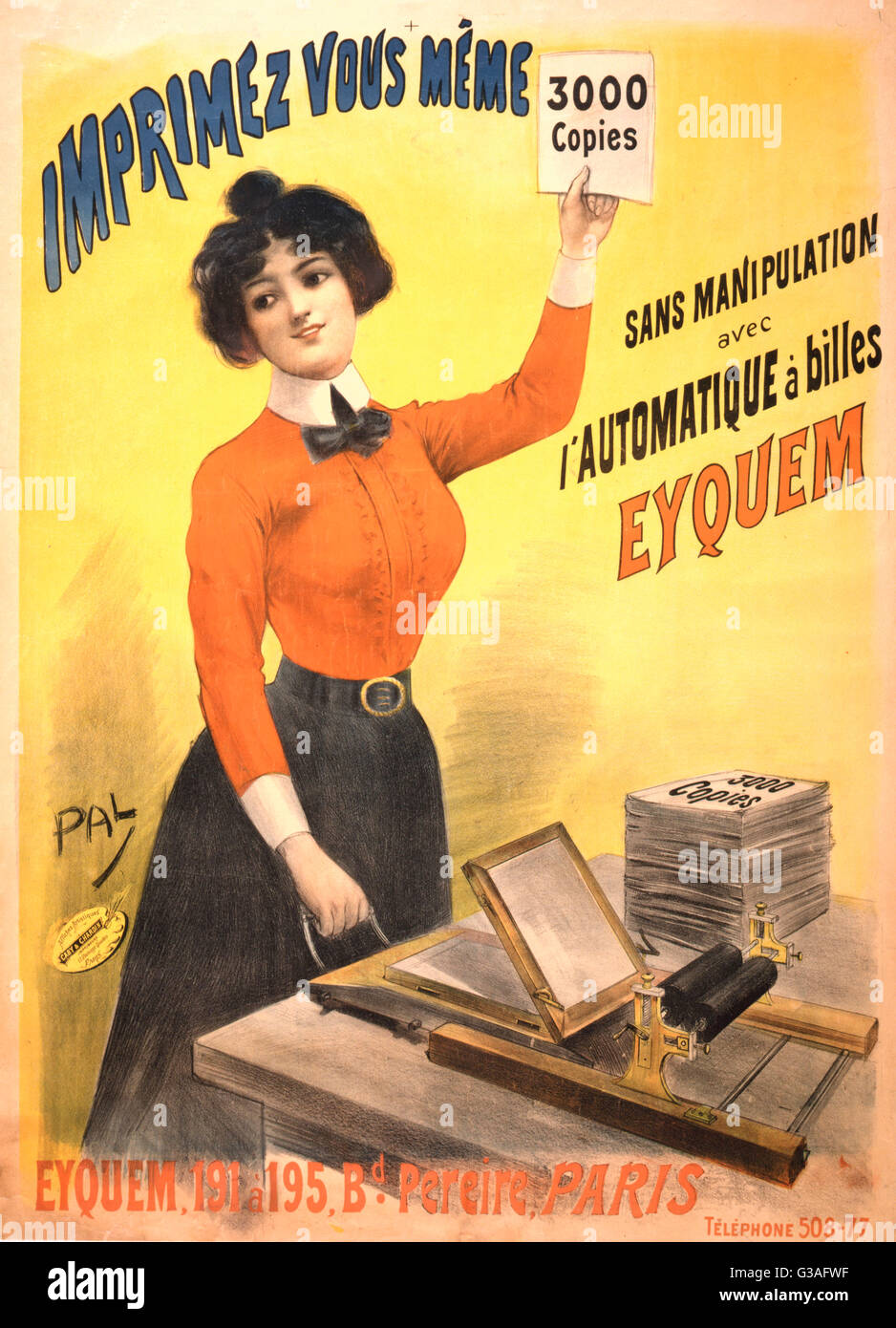 Imprimez vous meme 3000 copies sans manipulation avec l'automatique e billes Eyquem. Poster showing a woman - Stock Image