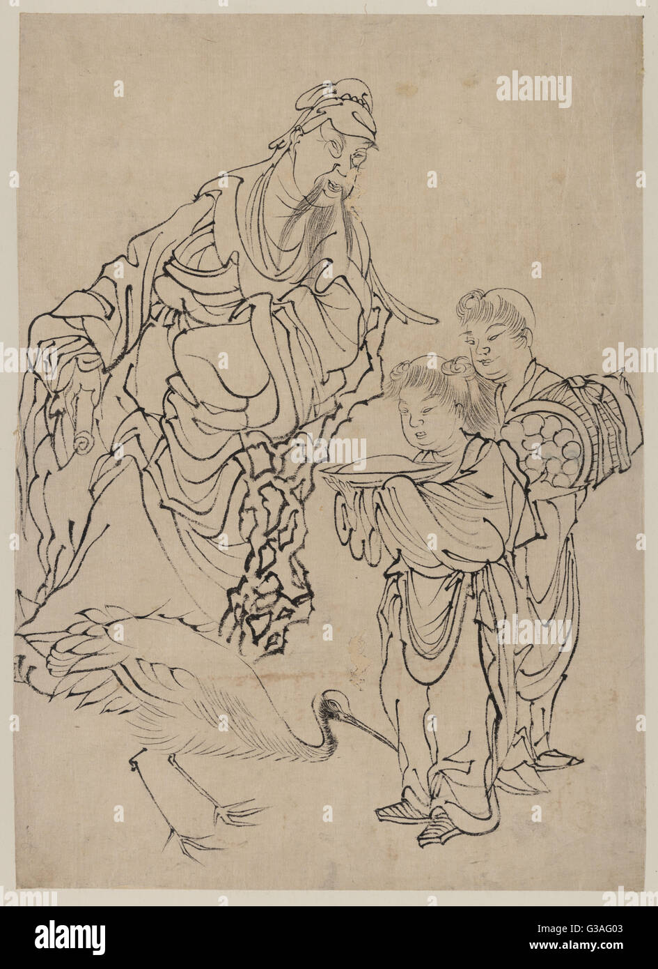 Rinnasei (Lin Hejing). Drawing shows a man with two children and a large bird, possibly a  rhea. Date between 1830 - Stock Image
