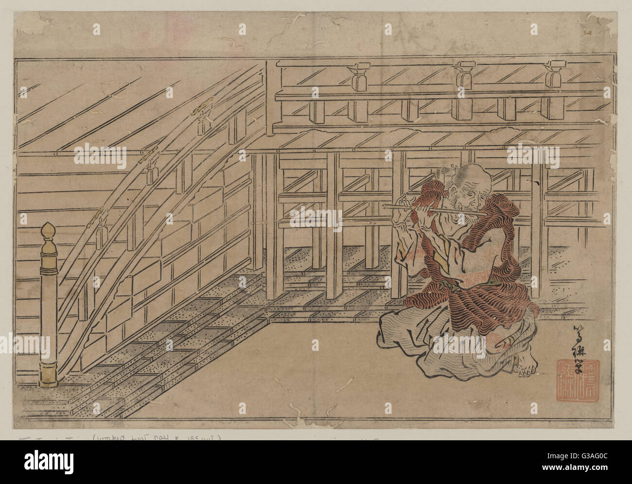 Old man playing a flute. Print shows an old man kneeling on the ground playing a flute. Date 1795 or 1796. - Stock Image